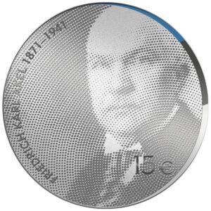 Anverso de la moneda de plata dedicada por Estonia al 150 aniversario del nacimiento de Friedrich Karl Akel