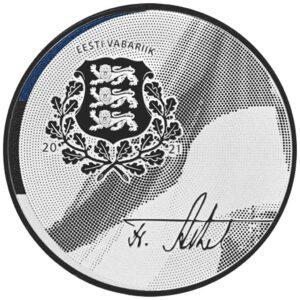Reverso de la moneda de plata dedicada por Estonia al 150 aniversario del nacimiento de Friedrich Karl Akel